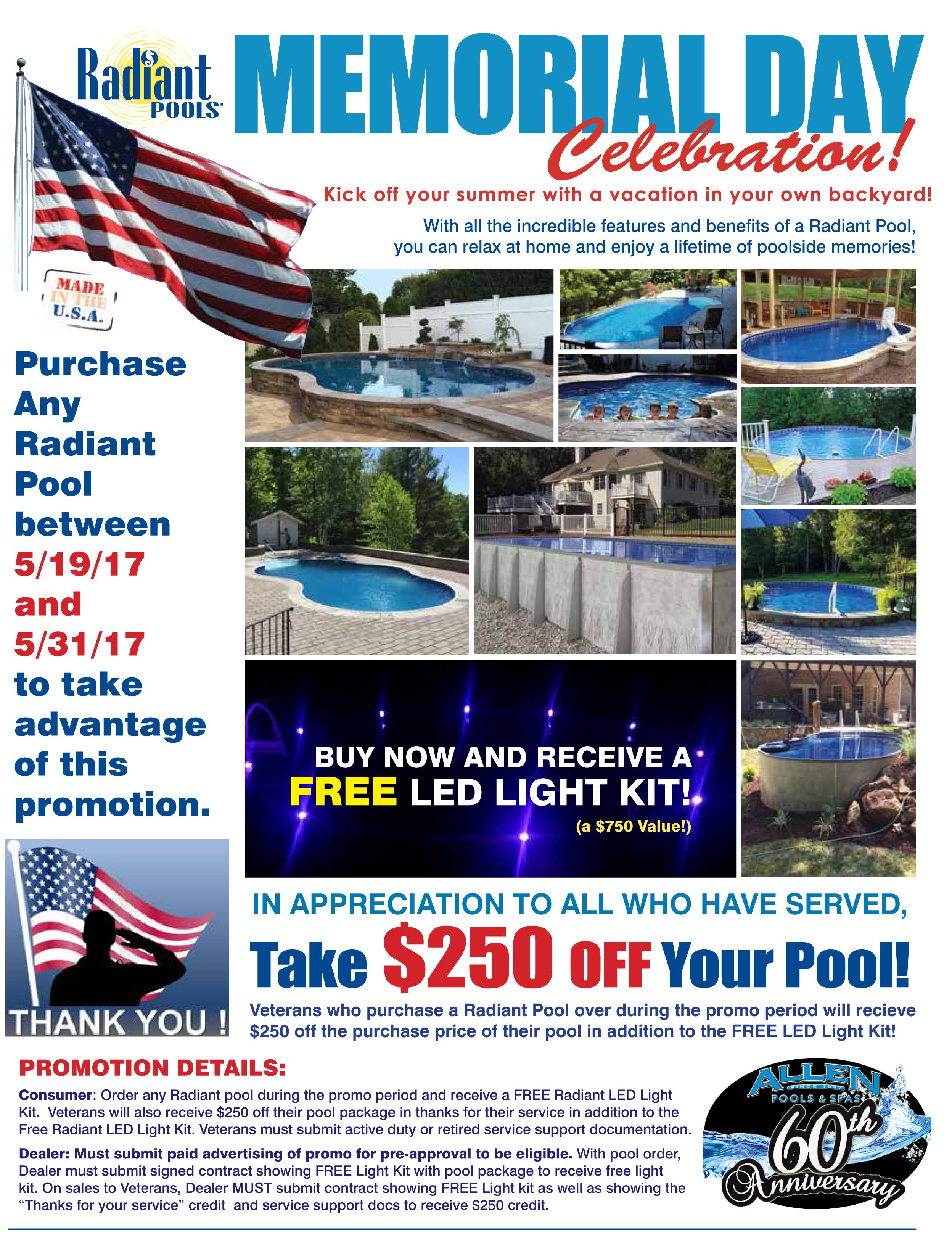 Radiant Pools Memorial Day Sale